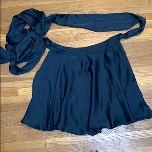 silky skater skirt with attached wrap belt